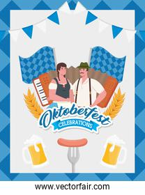 oktoberfest man and woman cartoons with traditional cloth and flags vector design