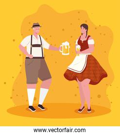 oktoberfest man and woman cartoons with traditional cloth vector