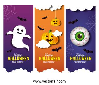 Halloween cartoons in frames set vector design