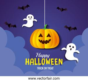 Halloween pumpkin cartoon hanging with bats and ghosts vector design