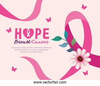pink ribbon with flower of hope breast cancer awareness vector design