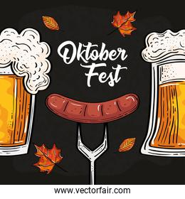 Oktoberfest beer glasses and sausage on fork with leaves vector design
