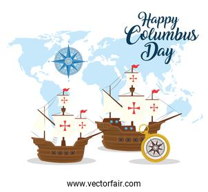 Columbus ships and compass of happy columbus day vector design