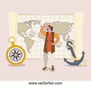 Christopher Columbus cartoon with compass and anchor vector design