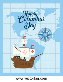Columbus ship with world map of happy columbus day vector design