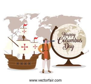 Christopher Columbus cartoon with ship and world sphere vector design