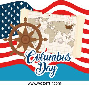 Columbus ship on world map and rudder in front of usa flag vector design