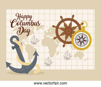 Columbus ships on world map with anchor rudder and compass vector design