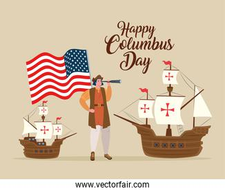 Christopher Columbus cartoon with ships and usa flags vector design