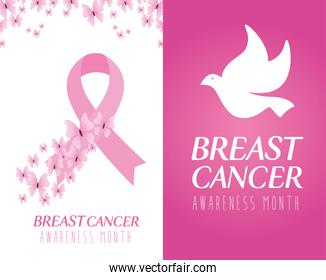 pink ribbon and dove of breast cancer awareness vector design