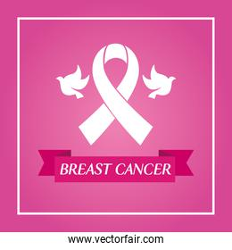 pink ribbon and doves in frame of breast cancer awareness vector design