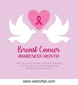 pink ribbon in heart with doves of breast cancer awareness vector design