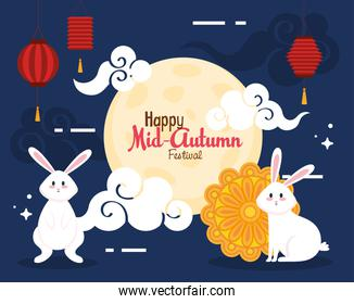rabbits with mooncake lanterns and clouds of happy mid autumn festival vector design