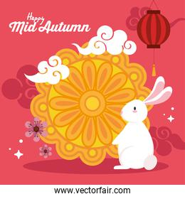 mooncake with rabbit and clouds of happy mid autumn festival vector design