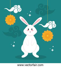 rabbit with mooncakes and clouds of happy mid autumn festival vector design