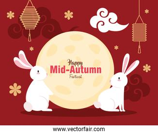rabbits with moon lanterns and clouds of happy mid autumn festival