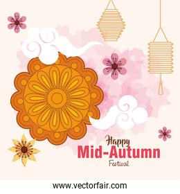 mooncake with flowers and lanterns of happy mid autumn festival vector design