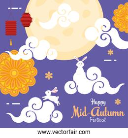 rabbits clouds and mooncakes of happy mid autumn festival vector design