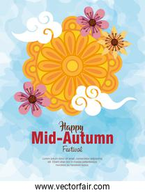mooncake with flowers and clouds of happy mid autumn festival vector design