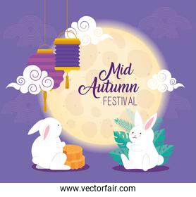moon and rabbits with mooncakes and lanterns of happy mid autumn festival vector design