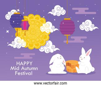 mooncake and rabbits with clouds and lanterns of happy mid autumn festival vector design