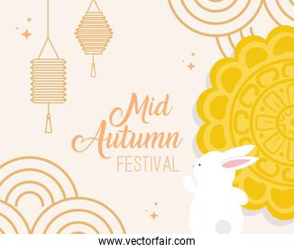 mooncake with rabbit and lanterns of happy mid autumn festival vector design