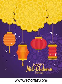 red lanterns with mooncakes of happy mid autumn festival vector design