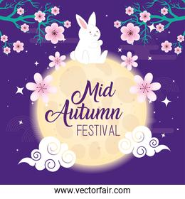 rabbit on moon with flowers of happy mid autumn festival vector design