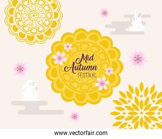 mooncake with rabbits of happy mid autumn festival vector design