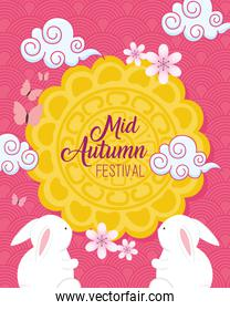 mooncake and rabbits with clouds of happy mid autumn festival vector design