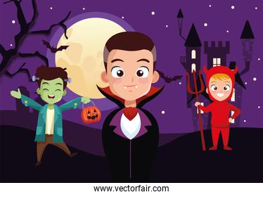 boys with halloween costumes in front of house at night vector design