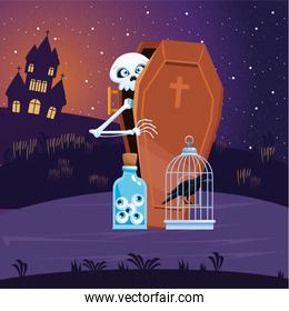 Halloween skull cartoon in coffin with eyes jar and raven at night vector design