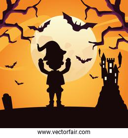 boy with halloween wizard costume silhouette vector design