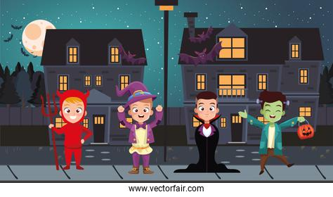 Halloween boys kids cartoons with costumes in front of houses vector design