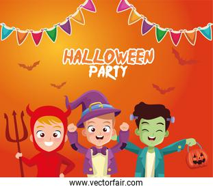 boys with halloween costumes with banner pennant vector design