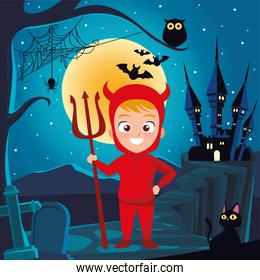 boy with halloween devil costume in front house at night vector design