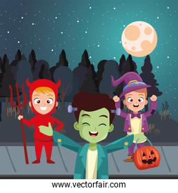 boys with halloween costumes in front of trees at night vector design