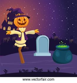 Halloween scarecrow cartoon with grave and witch bowl vector design