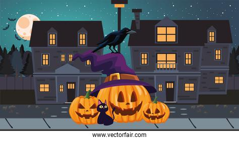 Halloween pumpkins cat and raven cartoons at night vector design