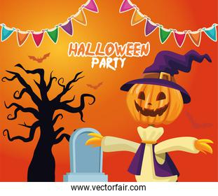 Halloween scarecrow cartoon with grave and tree vector design