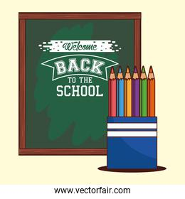 green board with colored pencils of back to school vector design