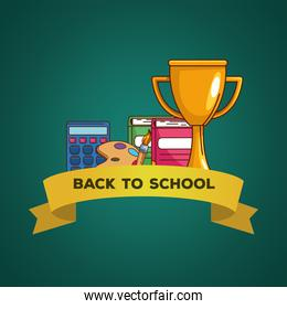 trophy notebooks paint brush palette and calculator of back to school vector design