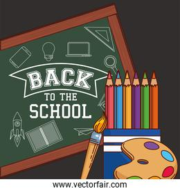 green board with colored pencils paint brush and palette of back to school vector design