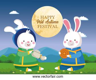 rabbits cartoons in traditional cloth with tea pot cup and mooncake vector design
