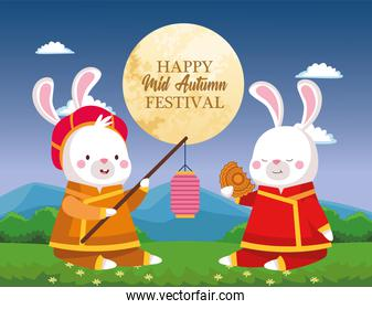 rabbits cartoons in traditional cloth with lantern and mooncake vector design