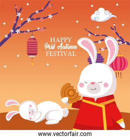 rabbits cartoons in traditional cloth with mooncake and lanterns vector design