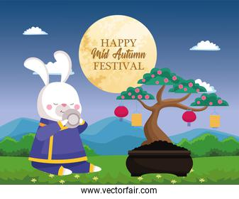 rabbit cartoon in traditional cloth with tea cup and tree vector design