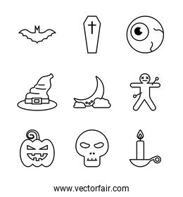 Halloween line style icon set vector design