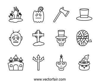 Halloween line style set icons vector design