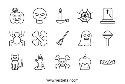 Halloween line style set of icons vector design